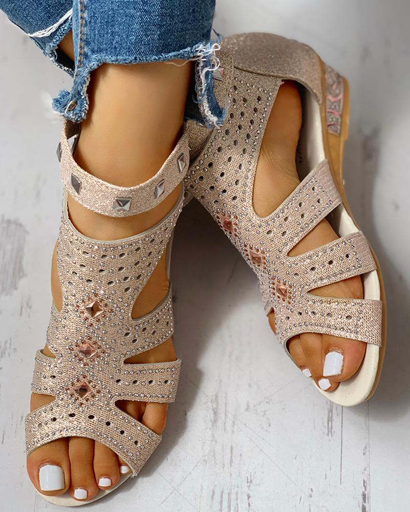 boutiquefeel / Studded Cut Out Wedge Sandals