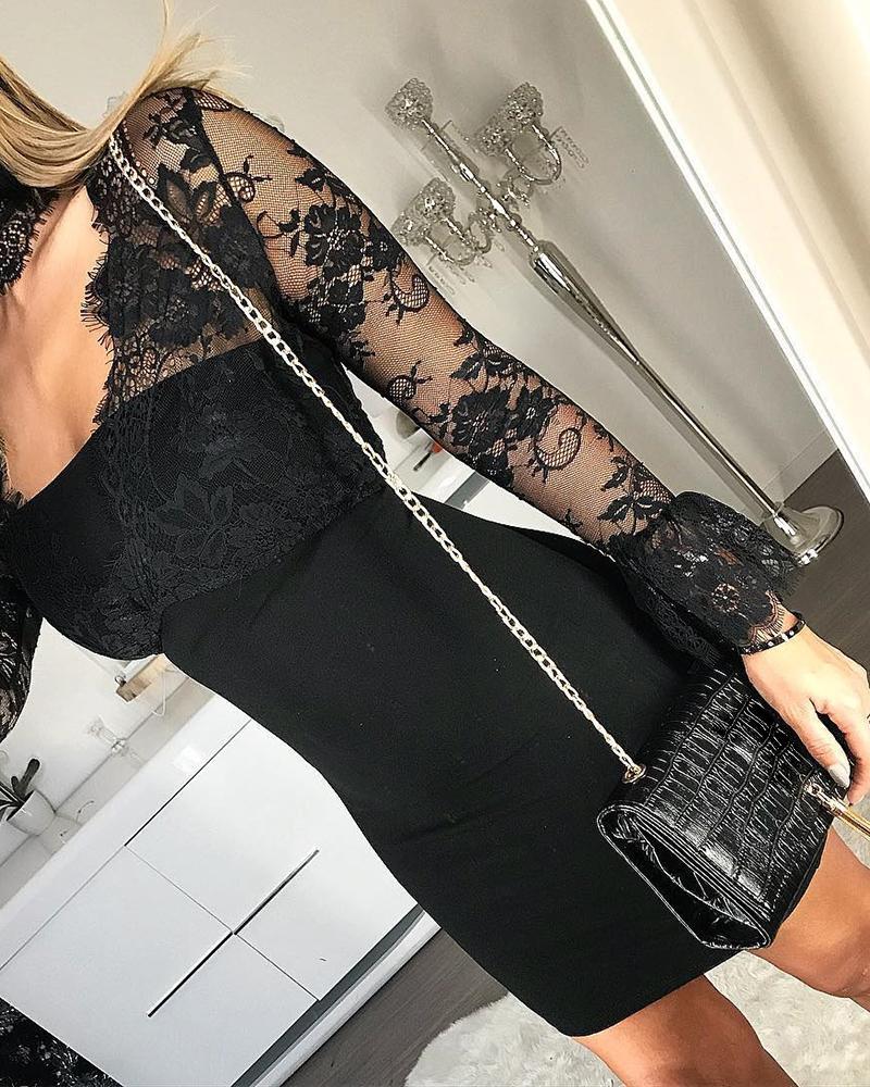 boutiquefeel / Eyelash Lace Mech Bodycon Dress