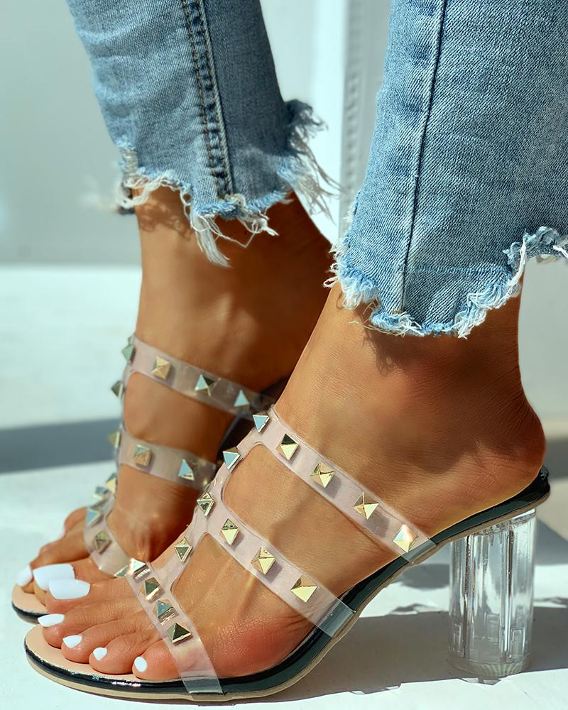 Transparent Strap Rivet Heeled Sandals фото