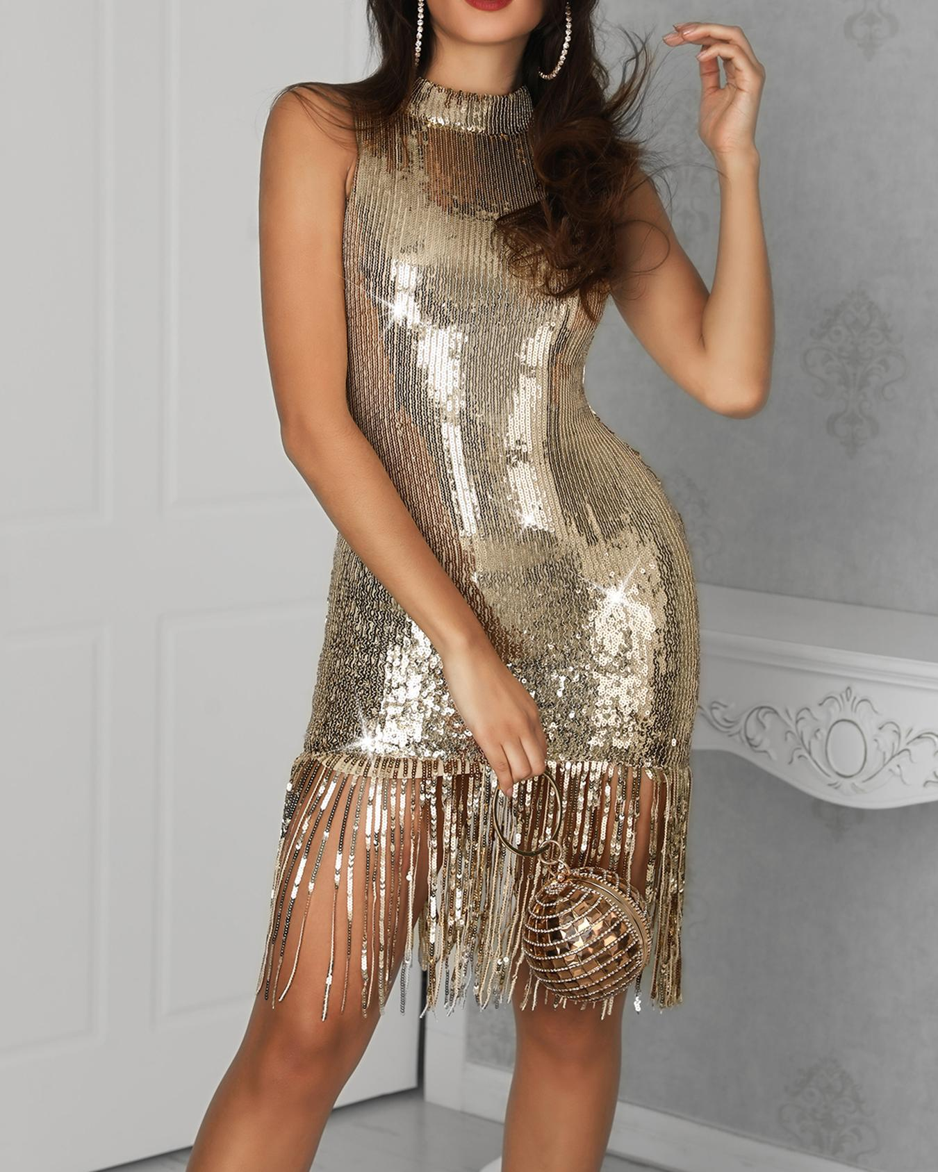 Tassel Hem Bodycon Sequin Dress фото