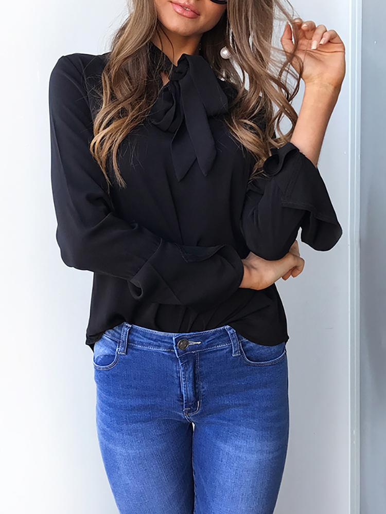 Curve Hem Tied Front Flare Sleeve Blouse - Black