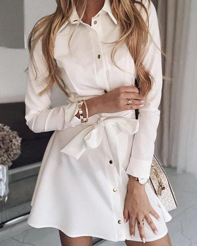 Button Through Self Belted Shirt Dress