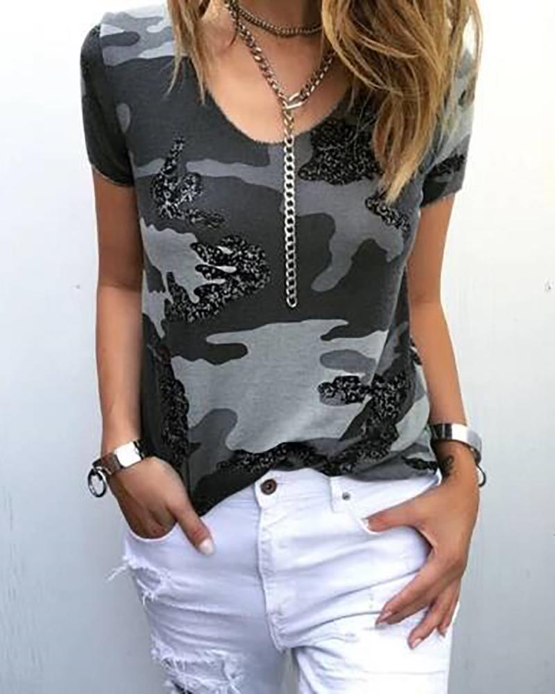 Camouflage Print Short Sleeve T-Shirt, Camoflage