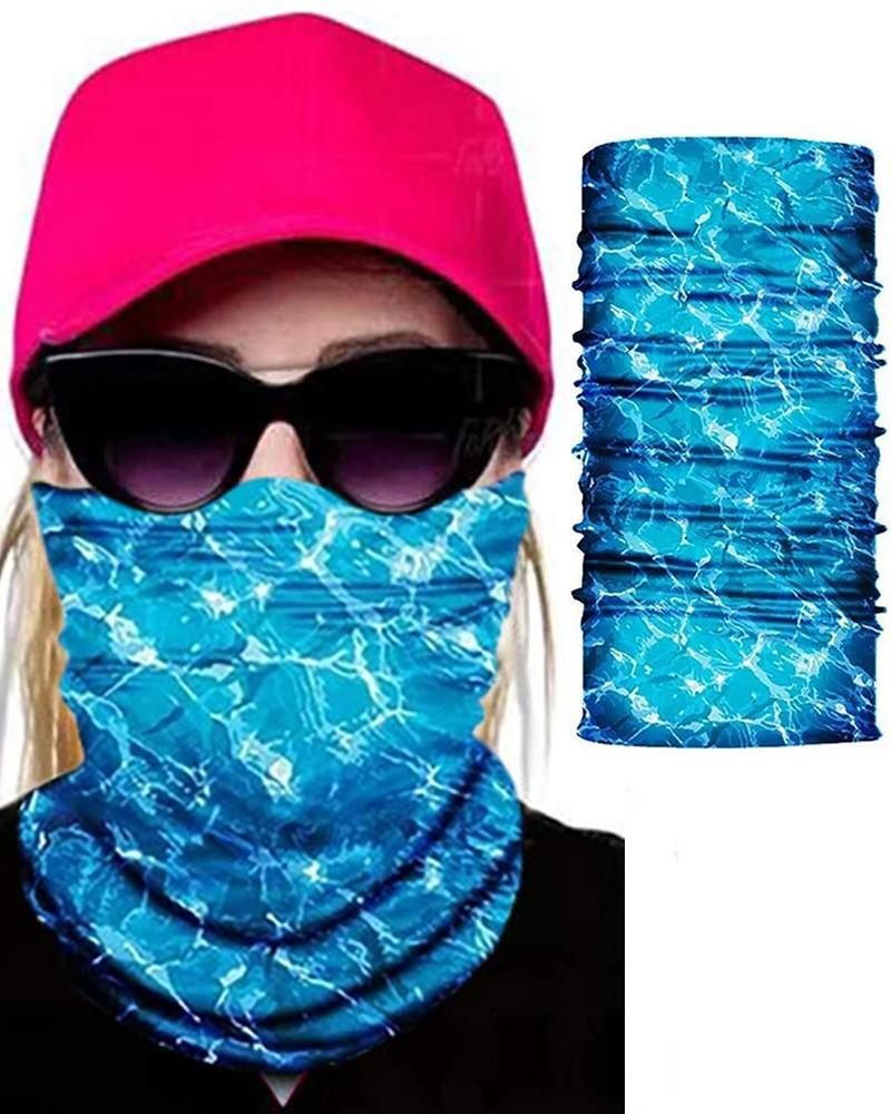 Watercolor Print Face Bandana Magic Scarf Headwrap Balaclava, Blue