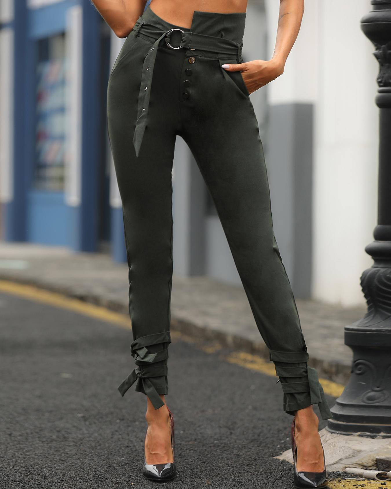 High Waist Belted Casual Pants