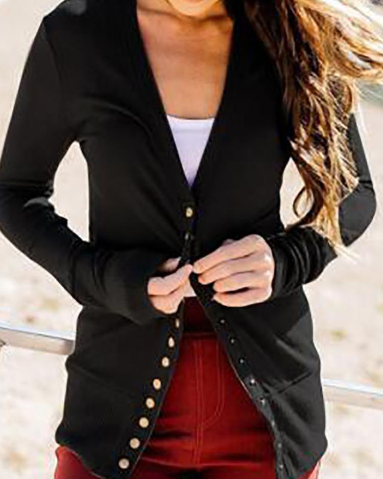 V-Neck Long Sleeve Button Design Coat фото