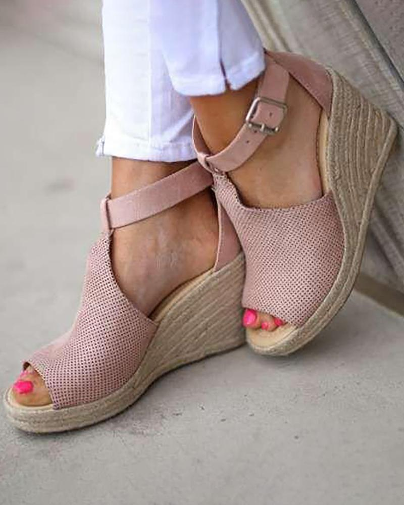 chicme / Suede Hollow Out Espadrille Wedge Sandals