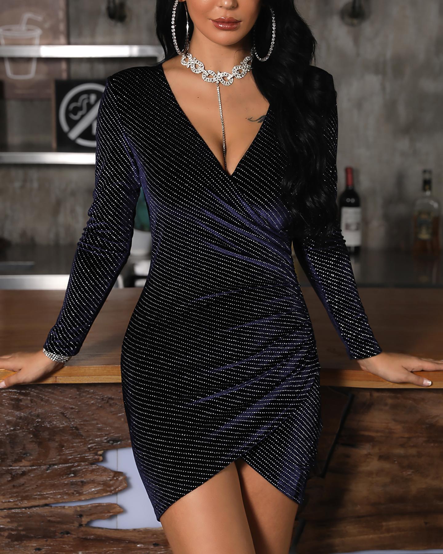 V-Neck Surplice Wrap Glitter Bodycon Dress, Purplish blue