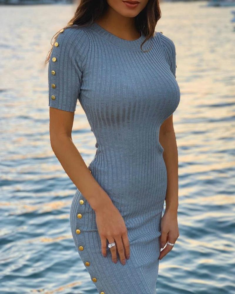 boutiquefeel / Sólido com nervuras abotoado vestido Bodycon detalhe