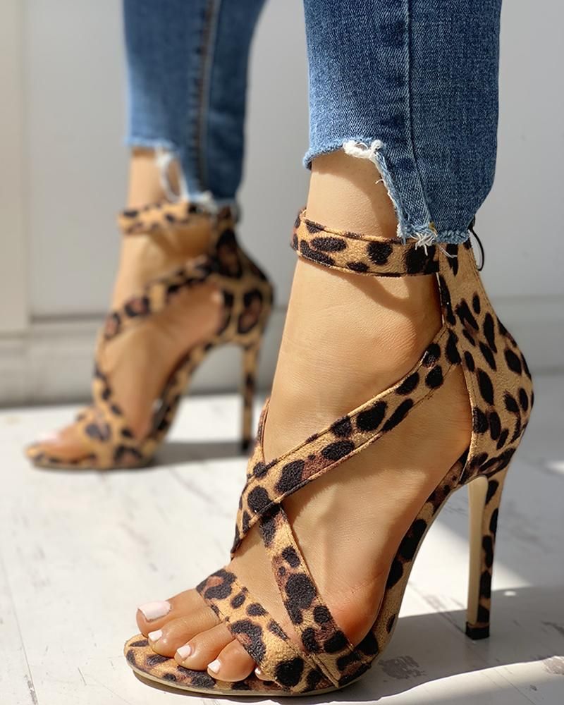 Leopard Crisscross Zipper Back Thin Heeled Sandals