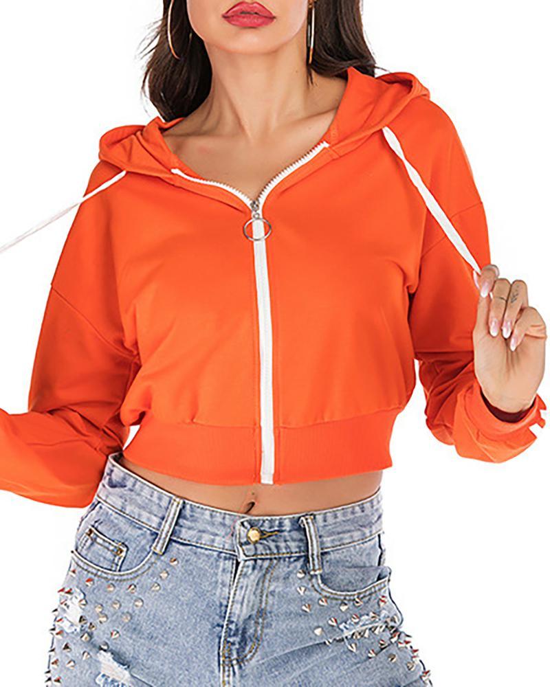 Colorblock Striped Tape Zipper Hooded Sweatshirt фото
