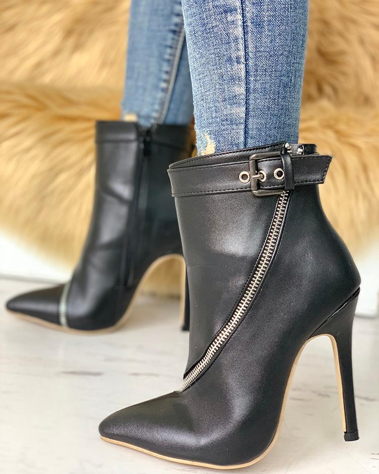 Zip Detail Buckle PU Ankle Boots фото