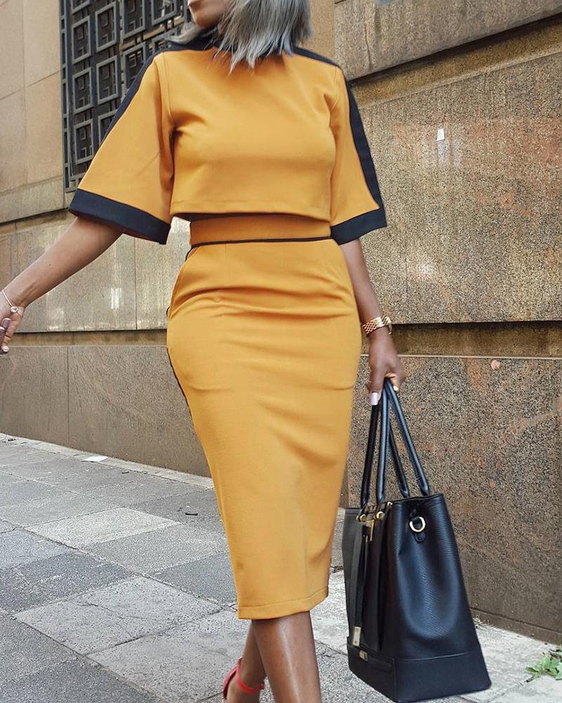 chicme / Colorblock Short Sleeve Crop Top & Skirt Sets
