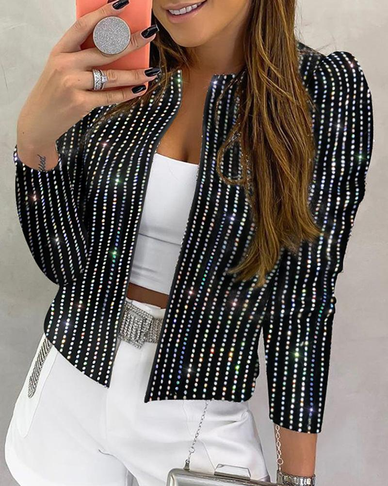 chicme / Sequins Striped Long Sleeve Coat