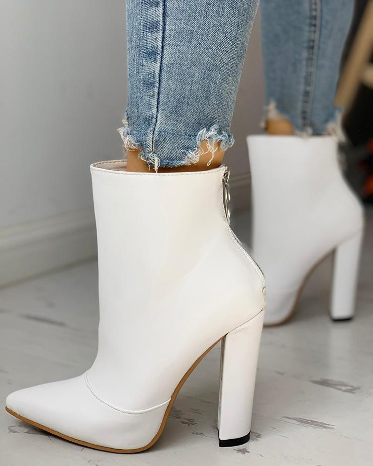 Solid Pointed Toe Zipper Back Boots