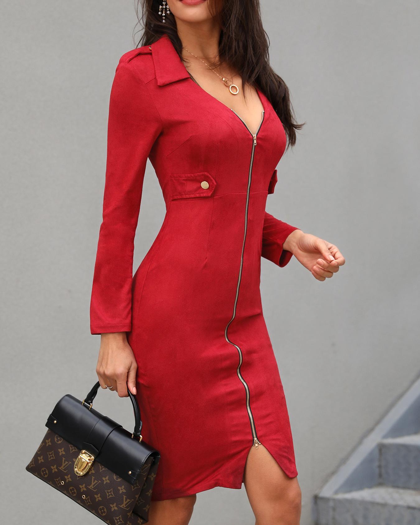 Solid Plunge Zipper Design Bodycon Dress фото
