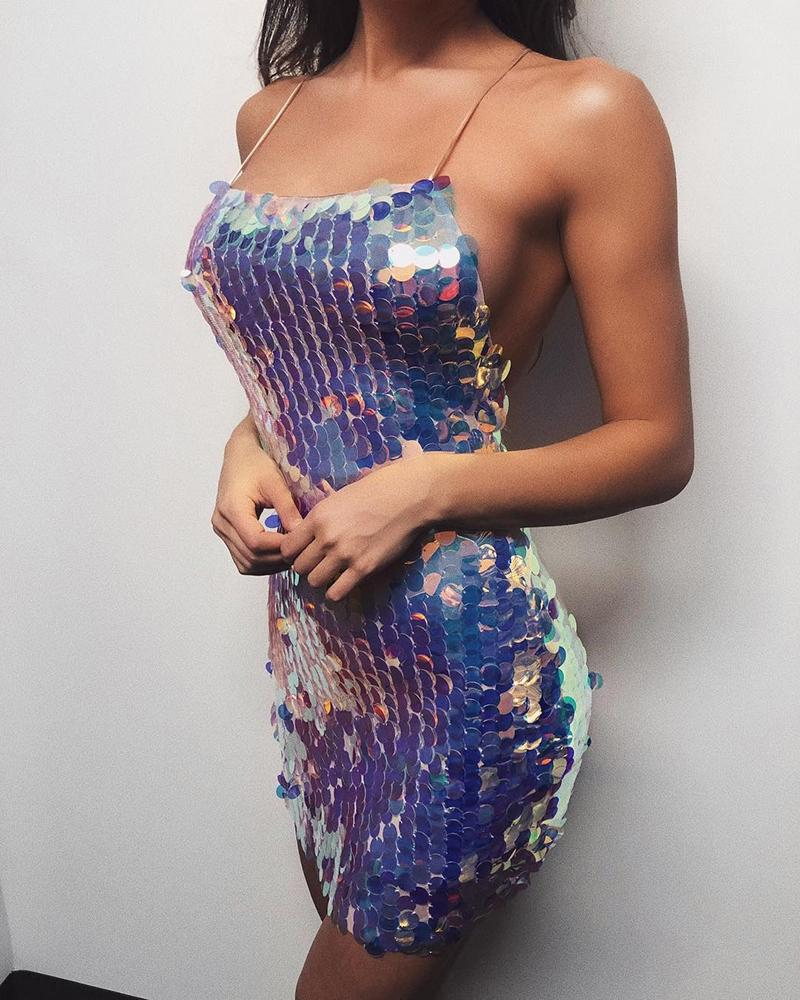 ivrose / Sequins Spaghetti Strap Bodycon Dress