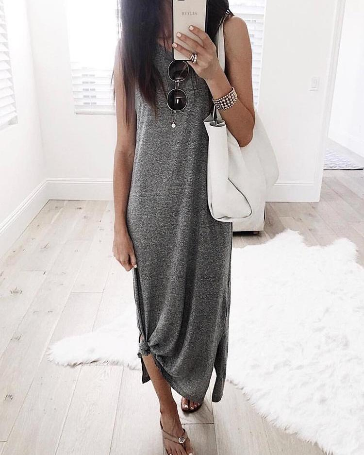 Solid Sleeveless Slit Tank Causal Dress