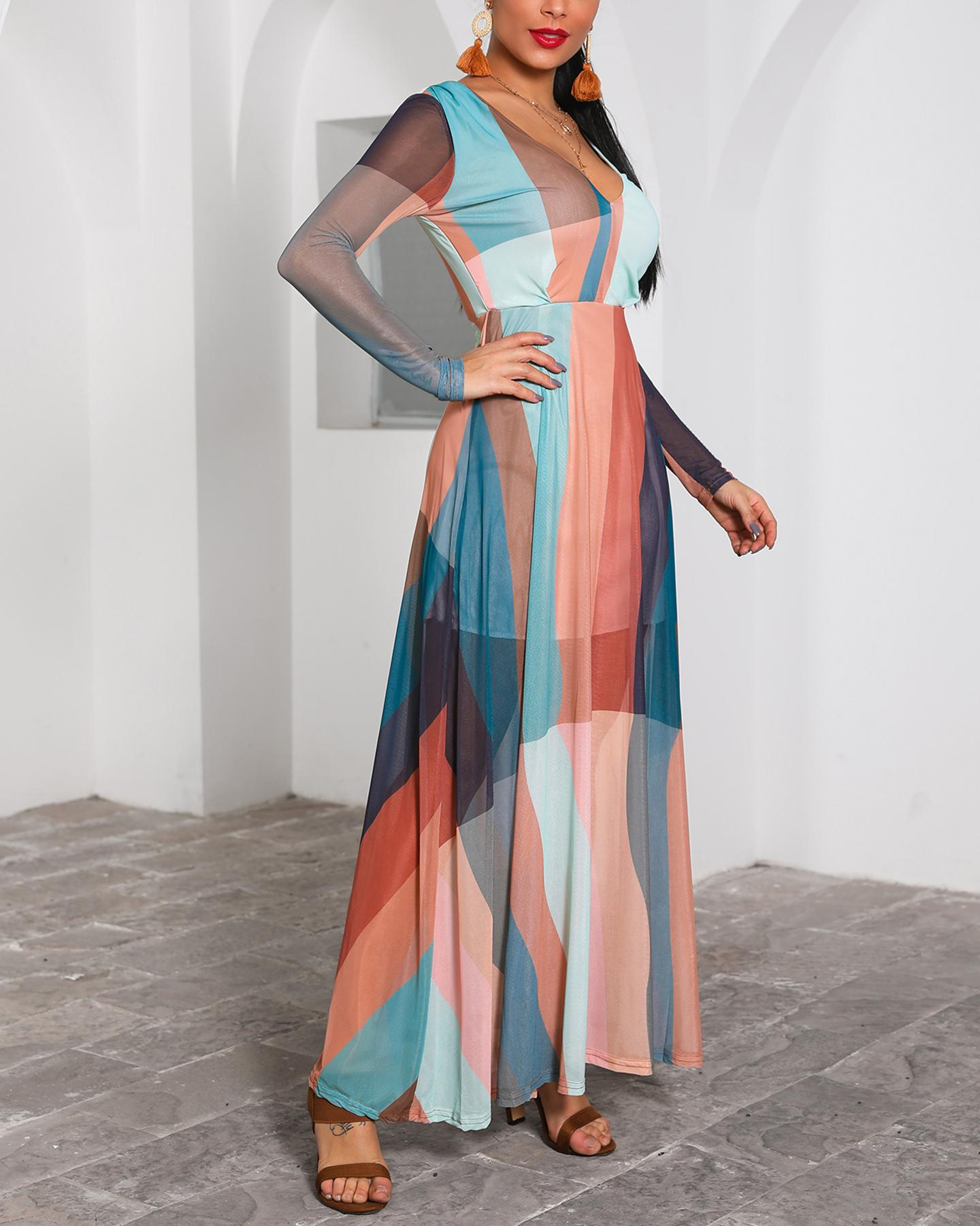 Color Block Splicing Plunge Neck Maxi Dress
