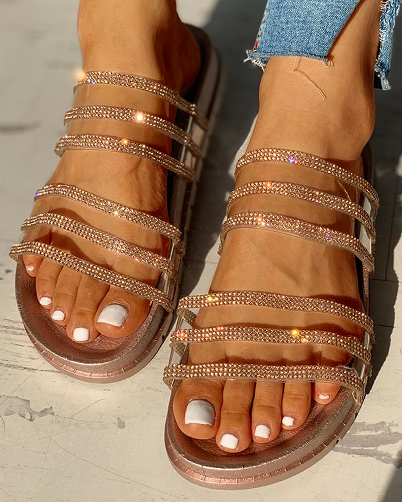 chicme / Studded Multi-strap Flat Sandals