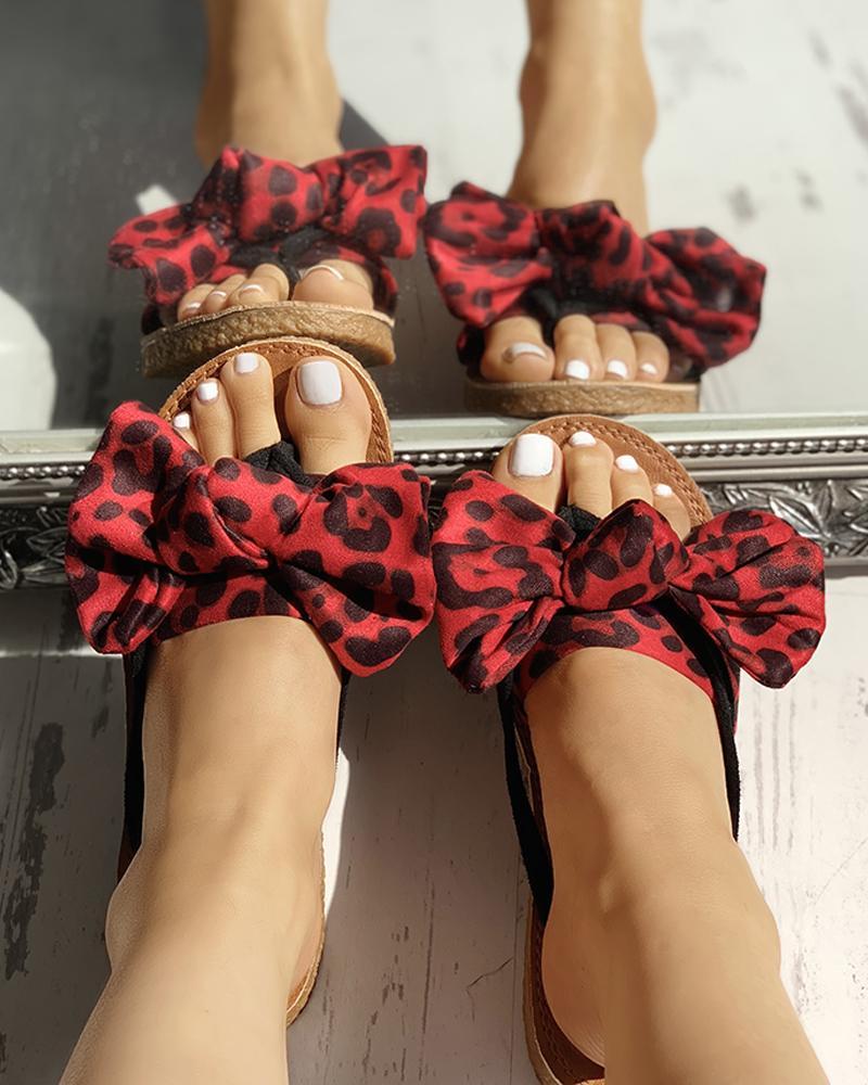 boutiquefeel / Sandalias planas de leopardo bowknot diseño