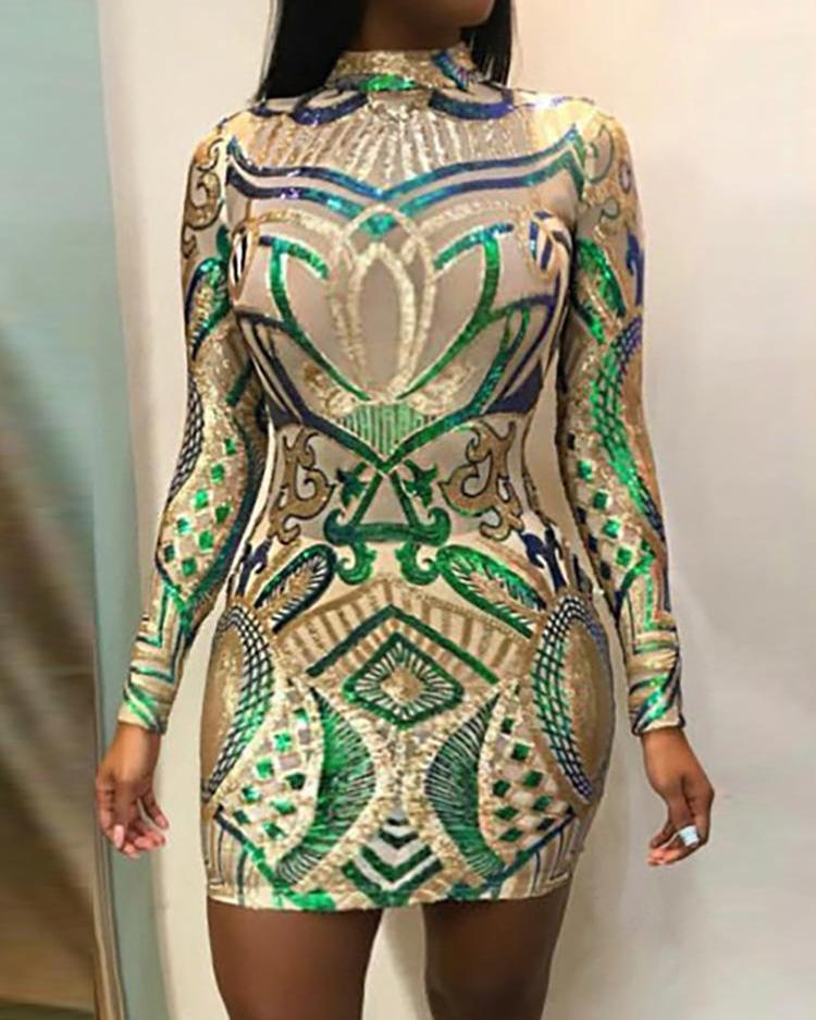 Mesh Long Sleeve Sequin Party Dress