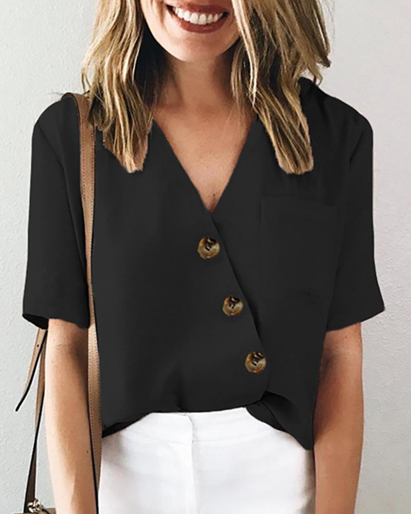 Solid V-neck Button Pocket Design Casual Blouse фото