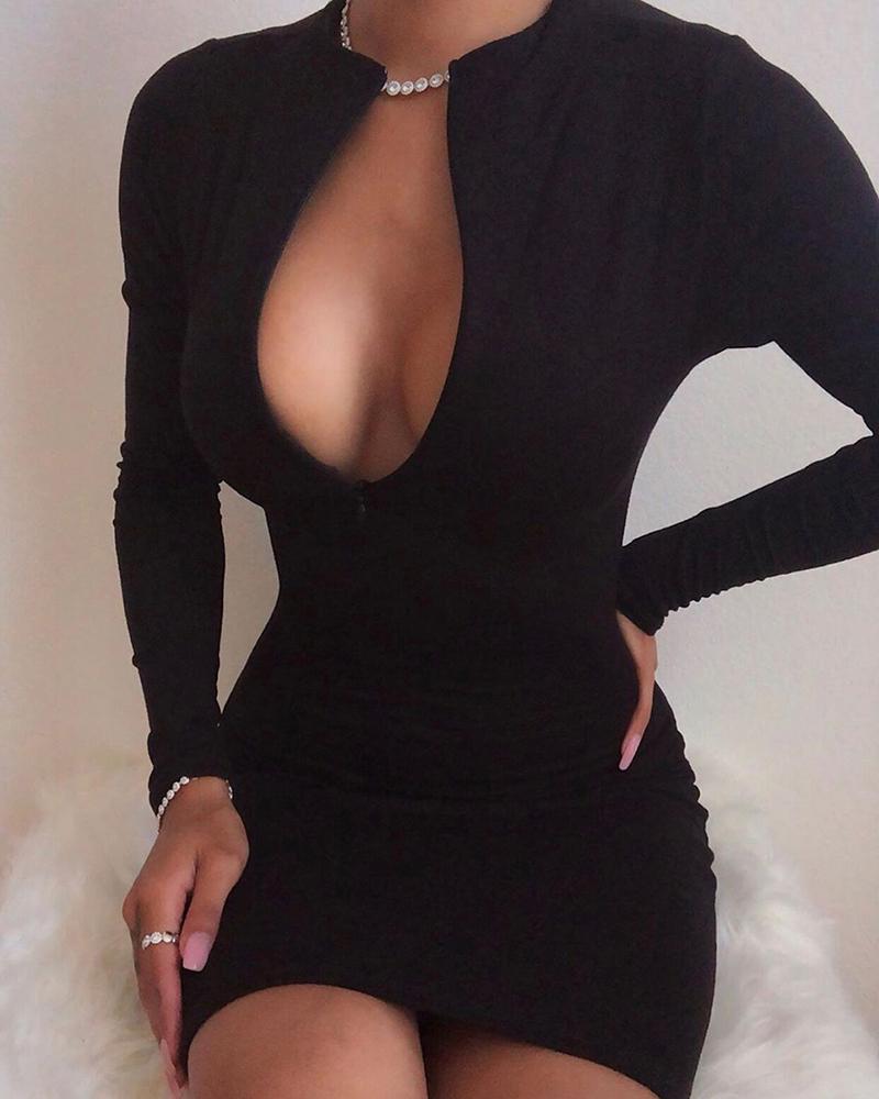 Solid Zipped V-Neck Bodycon Dress фото