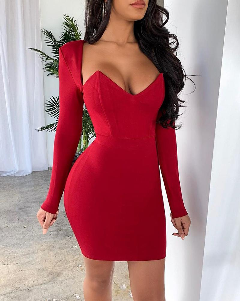 Solid Long Sleeve Pencil Dress фото