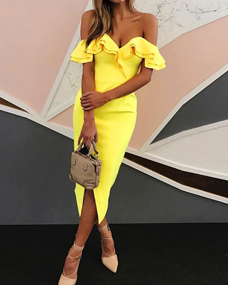 Off Shoulder Ruffled Split Bodycon Dress - Yellow фото