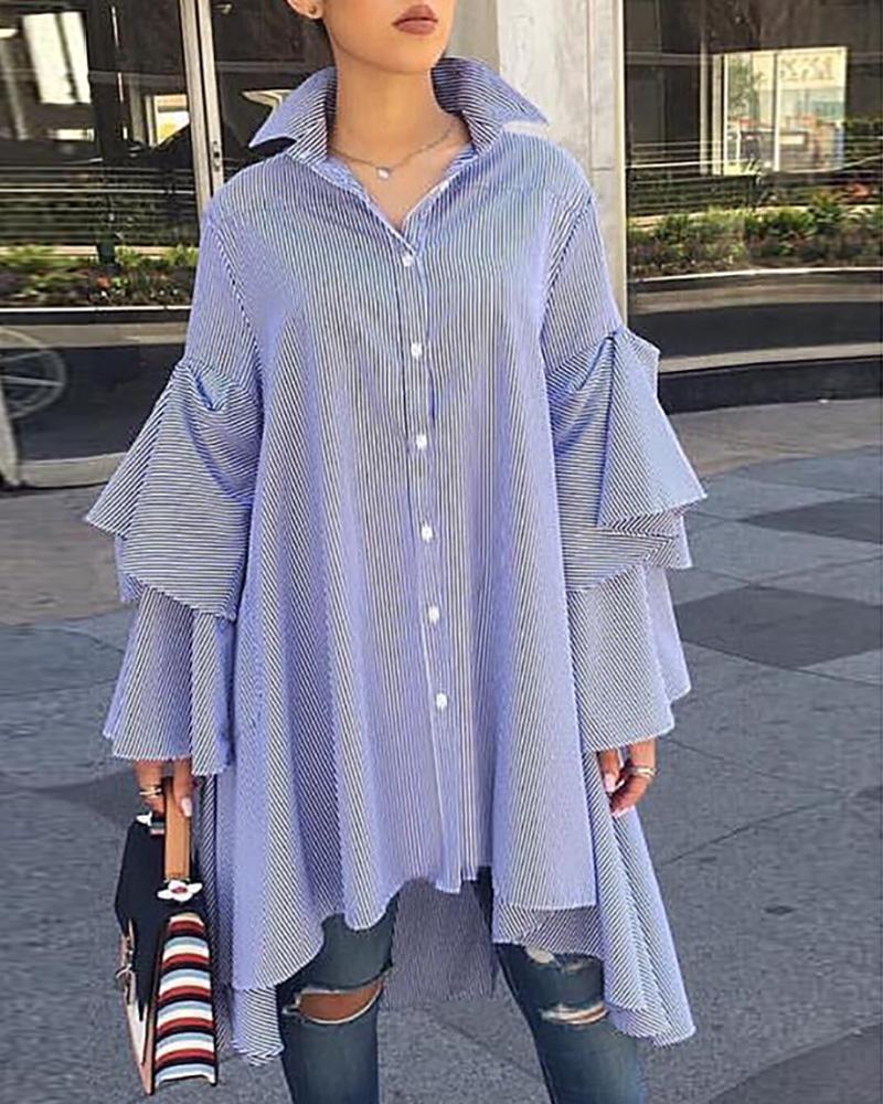 Striped Bell Sleeve Irregular Casual Shirt, Blue