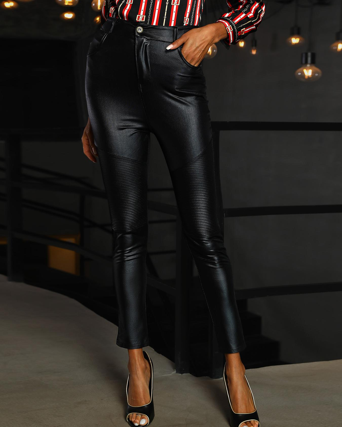 High Waist Coated PU Slinky Pants