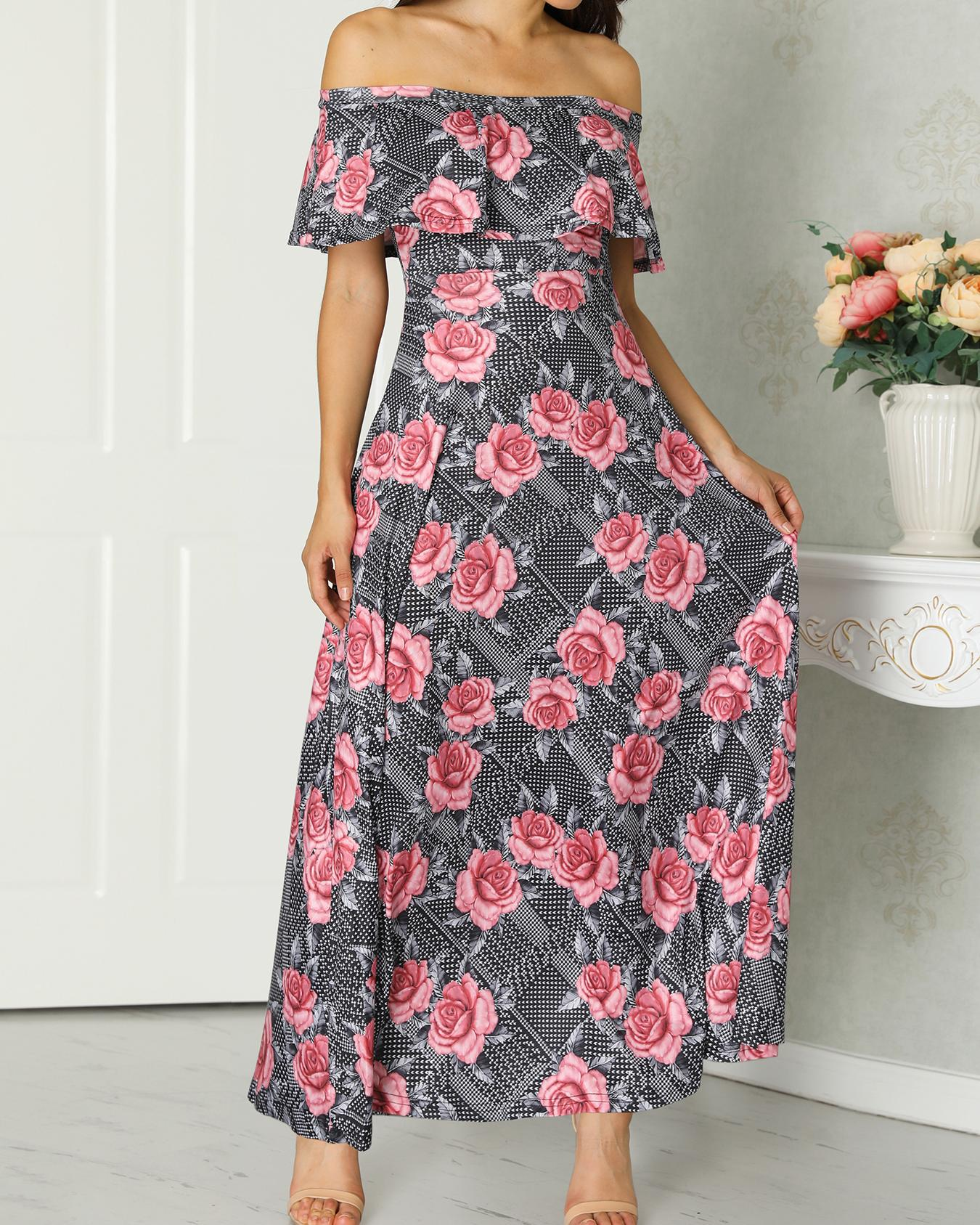 Off Shoulder Flounce Floral Maxi Dress