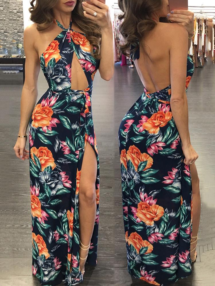 Sexy Halter Cut Out Open Back Split Maxi Dress