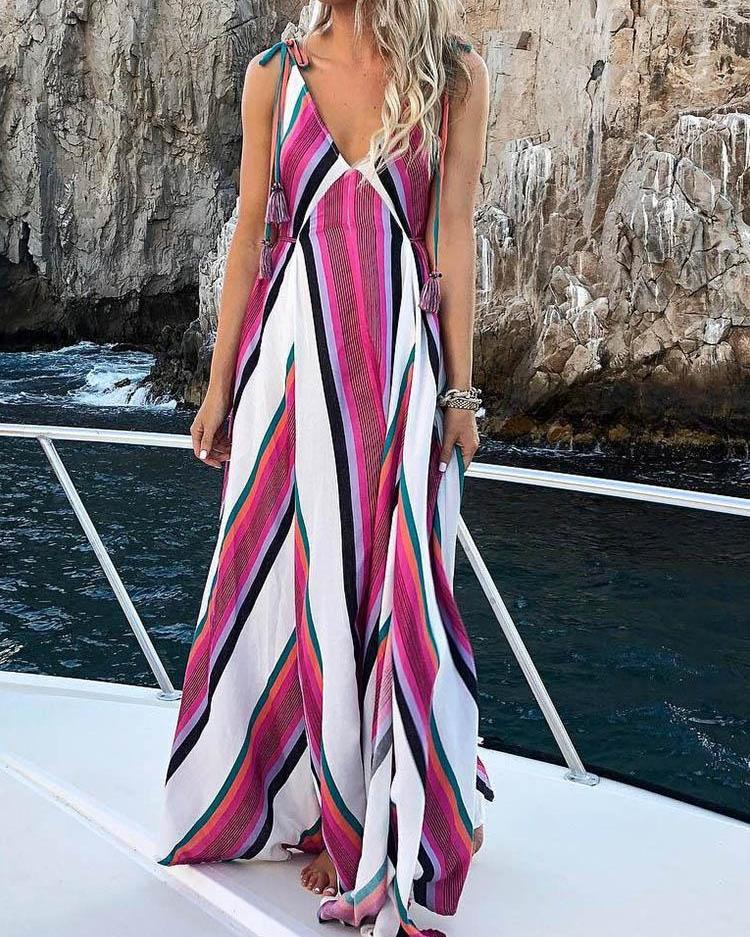 ivrose / V Neck Striped Print Tie Strap Maxi Dress