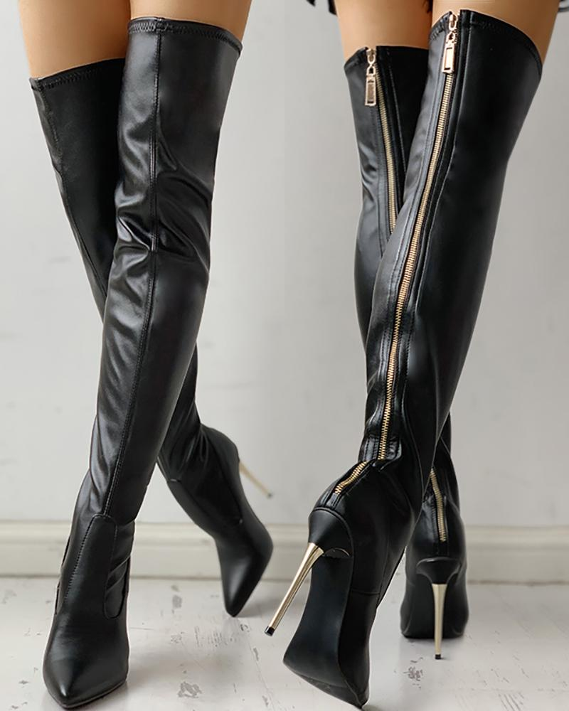 joyshoetique / Zipper Knee-High Thin Heel Boots