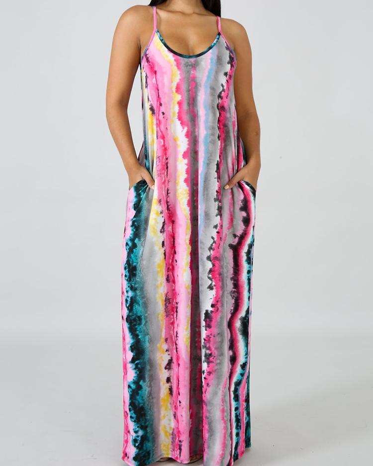 Spaghetti Strap Tie Dye Print Maxi Dress