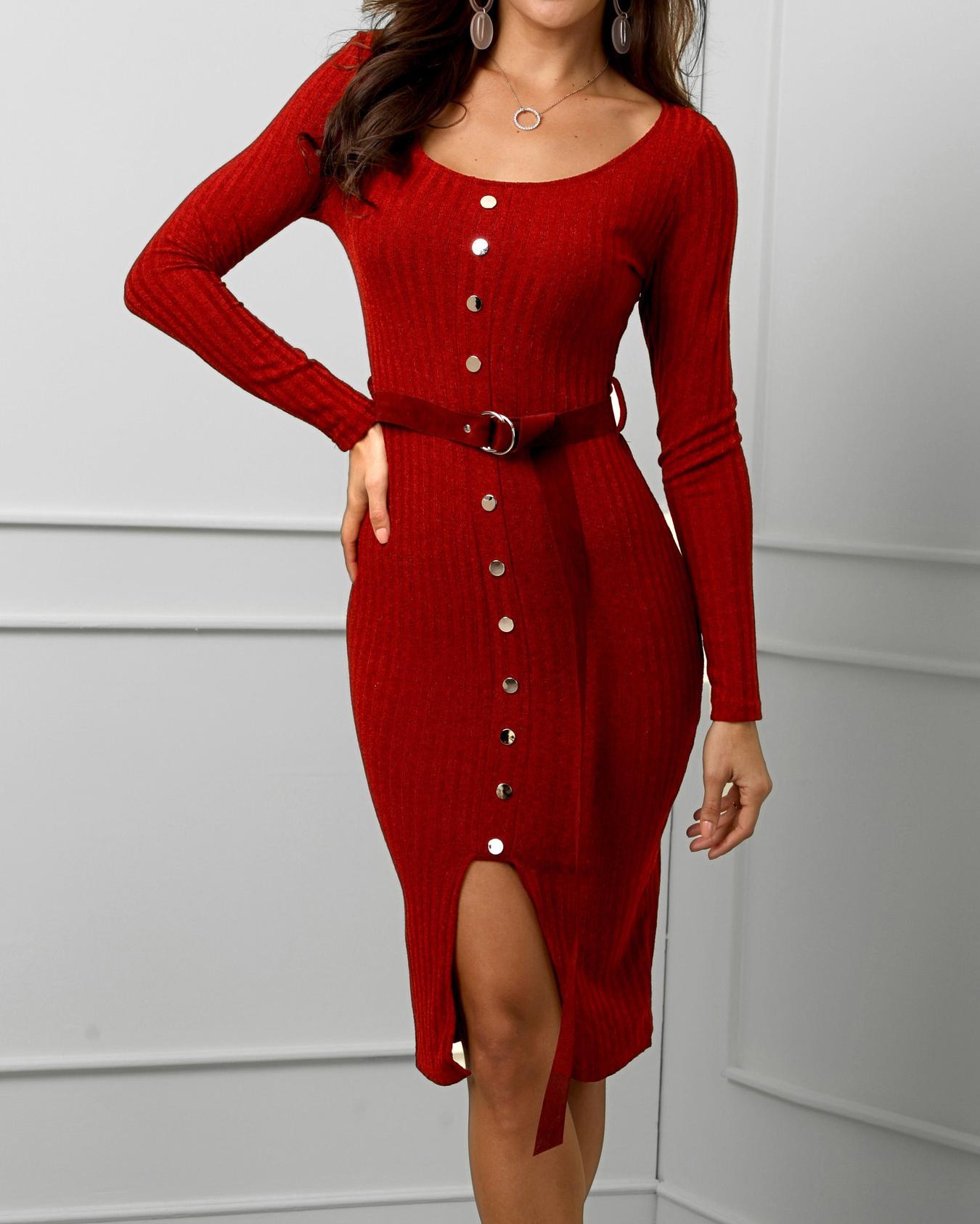 Solid Button Design Slit Front Belted Dress