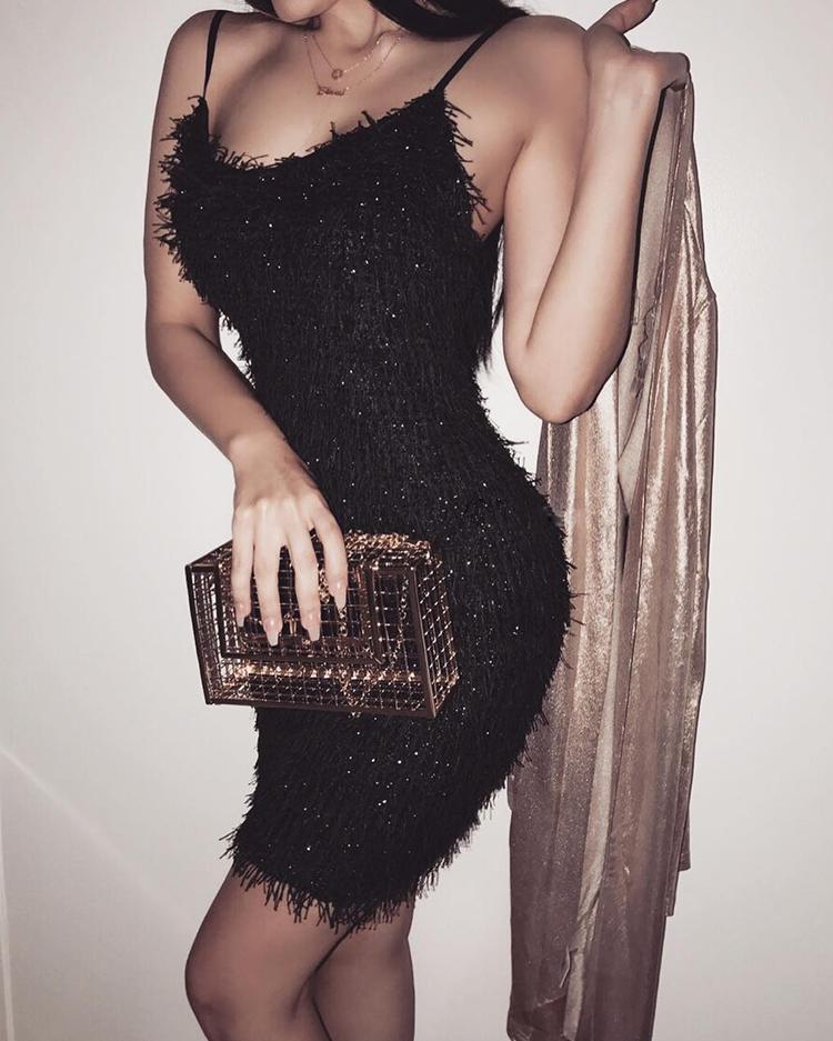 Spaghetti Strap Fuzzy Mini Dress