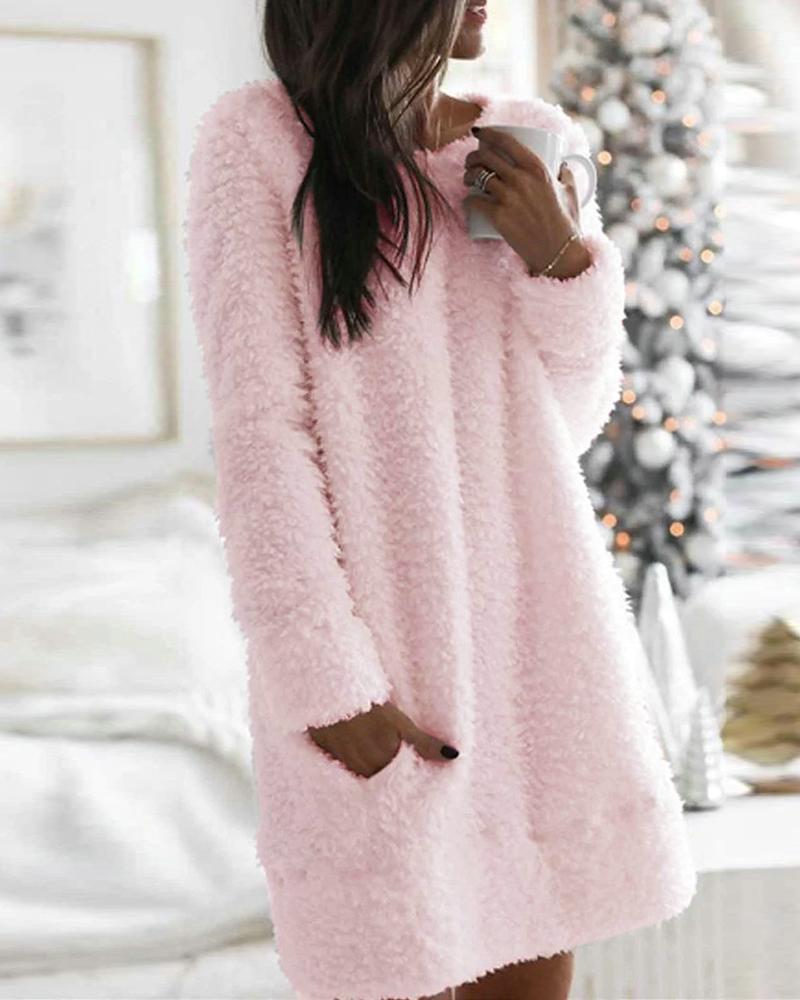 Pocket Design Plain Fluffy Dress фото