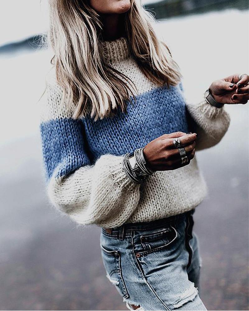 Casual Long Sleeve Mohair Sweater фото