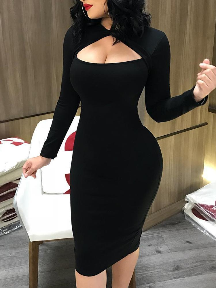 joyshoetique / Cut Out Front Long Sleeve Bodycon Midi Dress