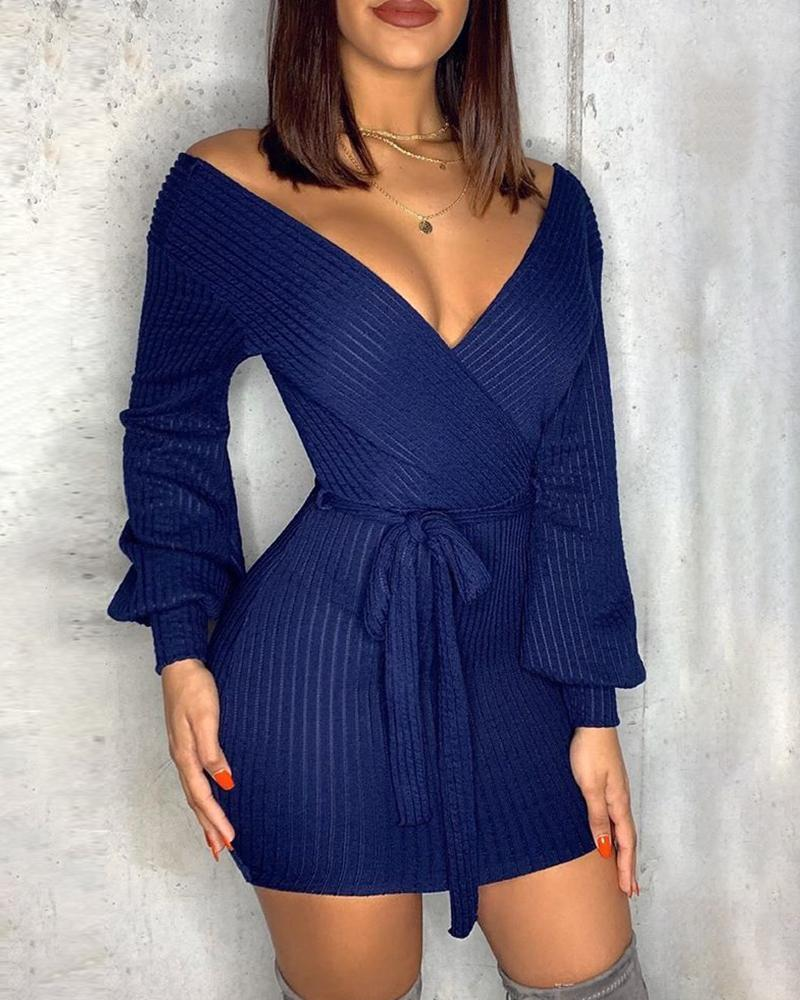 Plunge Knitting Bodycon Sweater Dress фото