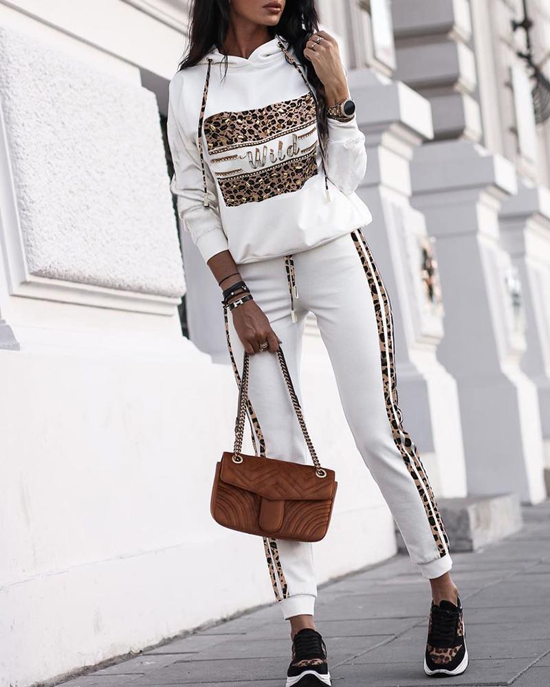 boutiquefeel / Conjuntos com capuz e calça com capuz de leopardo