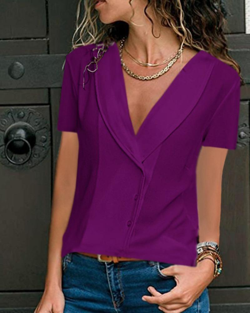 Casual Deep V-Neck Solid Color Fashion Short-Sleeved Top