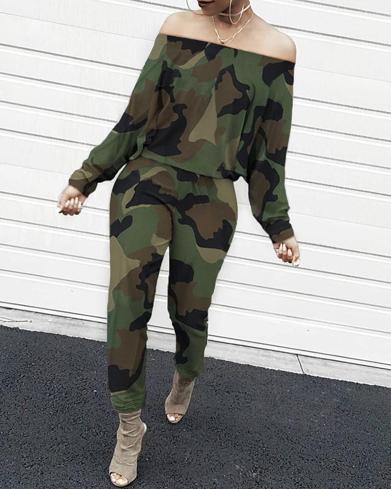 Off Shoulder Camouflage Long Sleeve Jumpsuit фото