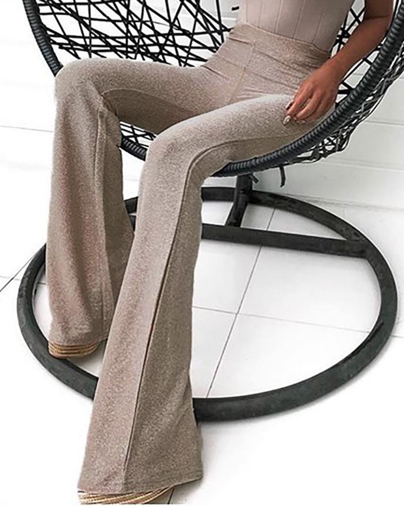 boutiquefeel / Pantalones anchos de cintura alta con purpurina