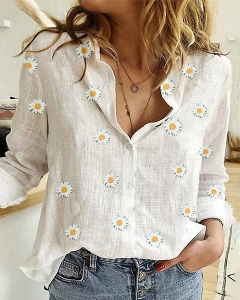 Floral Print Button Design V-neck Casual Blouse фото