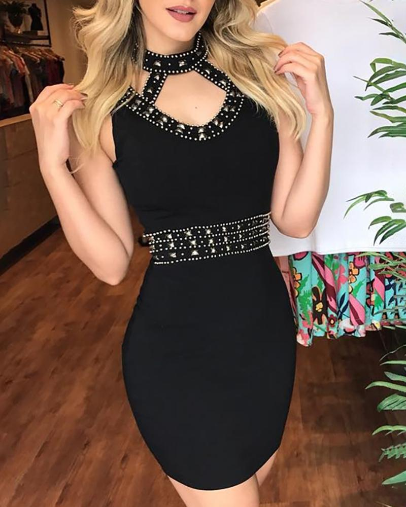 Rivet Design Cut Out Bodycon Dress