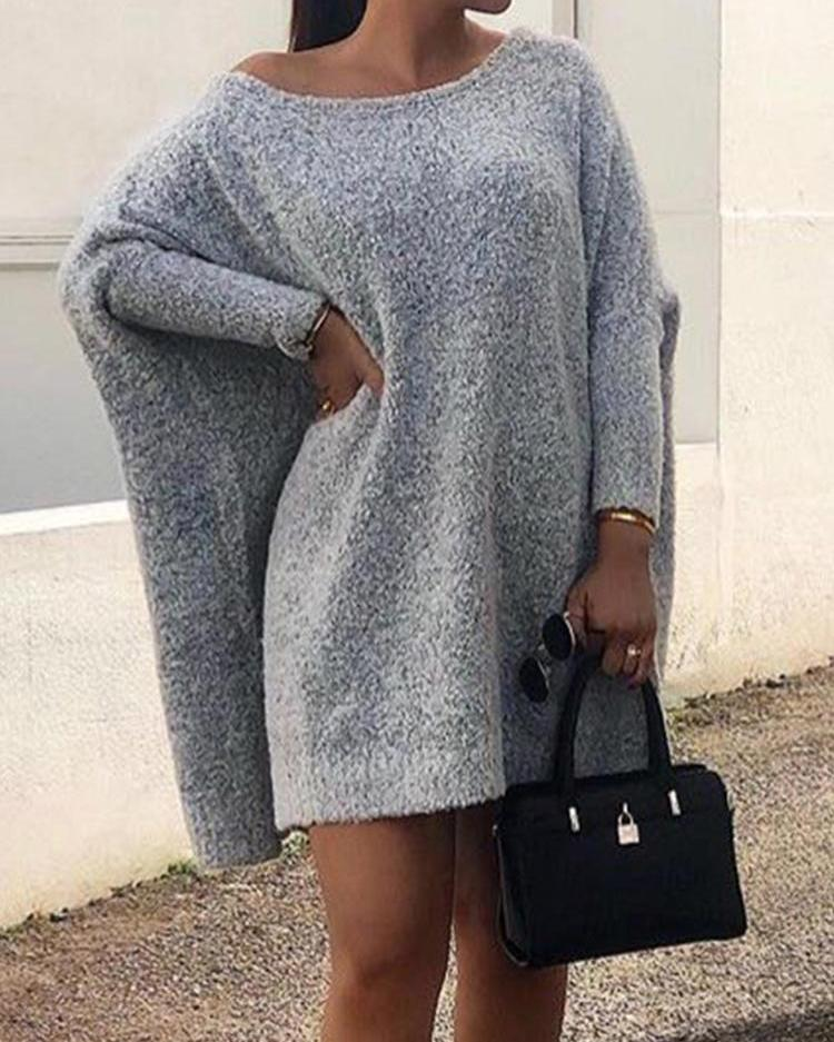 Round Neck Long Sleeve Casual Dress